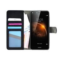 Huawei Y6-2 - Smartphonehoesje Wallet Bookstyle Case Lederlook Zwart
