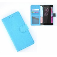 Sony Xperia E5 - Smartphonehoesje Wallet Bookstyle Case Lederlook Turquoise