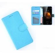 Huawei Y6-2 - Smartphonehoesje Wallet Bookstyle Case Lederlook Turquoise