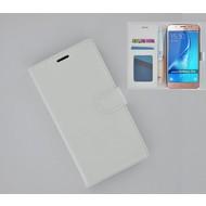 Samsung Galaxy J7 2016 - Smartphonehoesje Wallet Bookstyle Case Lederlook Wit