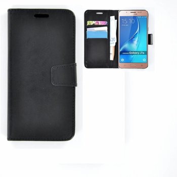 Samsung Galaxy J7 2016 - Smartphonehoesje Wallet Bookstyle Case Lederlook Zwart