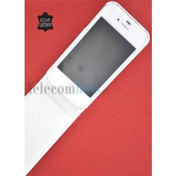 Apple iPhone SE - Smartphone Hoesje Flip Case Cover Echt Leder Wit
