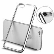 Apple iPhone 7 - Smartphone Hoesje Tpu Siliconen Case Transparant/Zilver