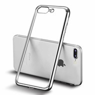 Apple iPhone 7 Plus - Smartphone Hoesje Tpu Siliconen Case Transparant/Zilver