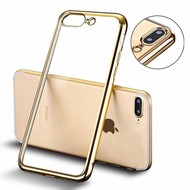 Apple iPhone 7 Plus Smartphone Hoesje Tpu Siliconen Case Transparant/Goud