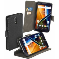 Motorola Moto G4 - Smartphone Hoesje Wallet Bookstyle Case Y Zwart