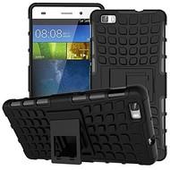 Huawei P8 - Smartphone Hoesje Shockproof Case tweedelig met standfunctie zwart