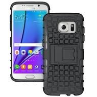 Samsung Galaxy S7 Edge - Smartphone Hoesje Shockproof Case tweedelig met standfunctie zwart