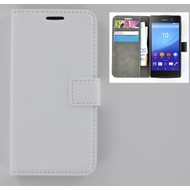 Sony Xperia M5 - Smartphone Hoesje Wallet Bookstyle Case Lederlook Wit