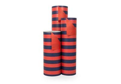 Kadopapier 30/50 cm 200 meter 2 kleuren rood/zwart
