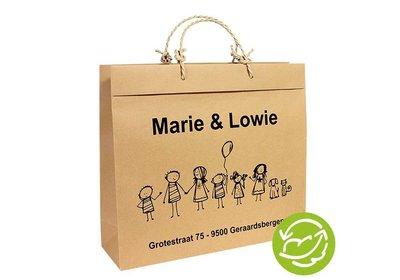 Gerecyclede papieren tas bedrukt met uw logo ca. 10 á 12 weken
