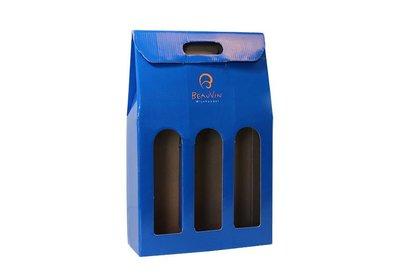 Wijnfles dozen bedrukt met uw logo ca. 10 á 12 weken