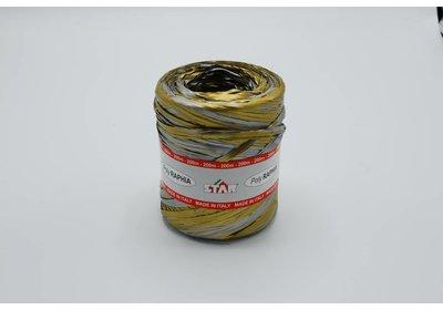 Raffialint 15mm 200m goud-zilver