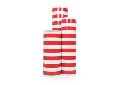 Kadopapier 30/50 cm 200 meter streep-rood