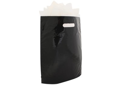 Plastic draagtas met gestanste handgreep zwart