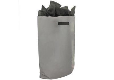 Plastic draagtas met gestanste handgreep zilver