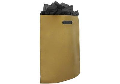 Plastic draagtas met gestanste handgreep goud