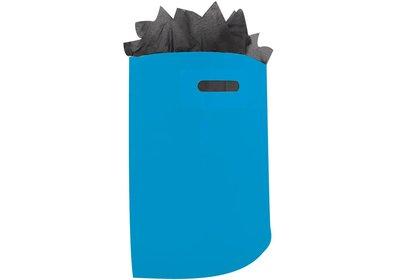 Plastic draagtas met gestanste handgreep hemelsblauw
