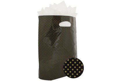 Plastic draagtas met gestanste handgreep stip goud