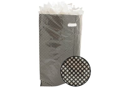 Plastic draagtas met gestanste handgreep stip zilver