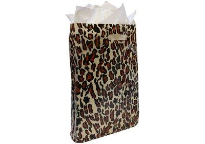 Plastic draagtas met gestanste handgreep tijger beige-zwart