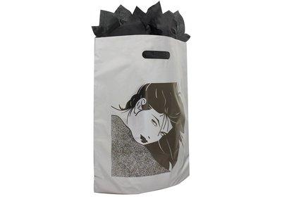 Plastic draagtas met gestanste handgreep fashion zilver-zwart