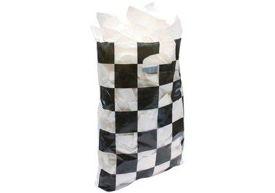 Plastic draagtas met gestanste handgreep schaak transparant-zwart