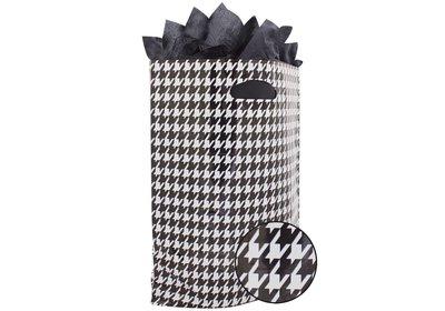 Plastic draagtas met gestanste handgreep pepita zwart-wit