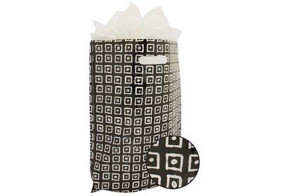 Plastic draagtas met gestanste handgreep block zwart-wit