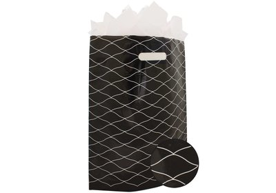 Plastic draagtas met gestanste handgreep wave zwart-wit