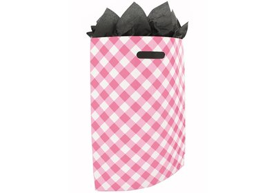 Plastic draagtas met gestanste handgreep Brabant bont roze