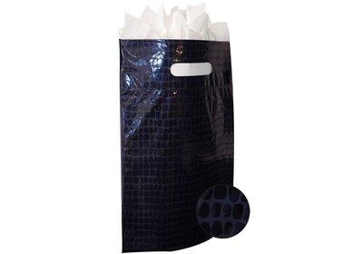 Plastic draagtas met gestanste handgreep croco donkerblauw