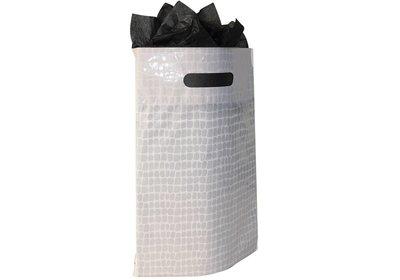 Plastic draagtas met gestanste handgreep croco wit