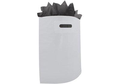 Plastic draagtas met gestanste handgreep lichtgrijs