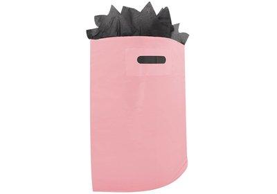 Plastic draagtas met gestanste handgreep zalm roze
