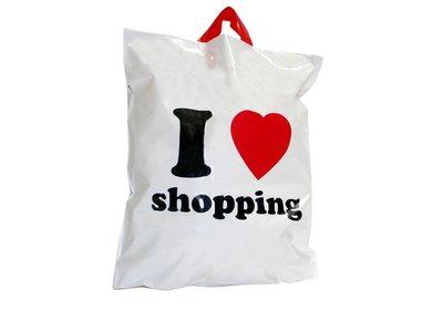 Plastic lus draagtas I love Shopping