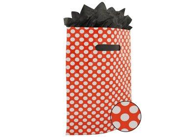 Plastic draagtas met gestanste handgreep stip rood-wit
