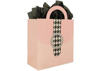 Papieren draagtas met gestanste handgreep retro pink