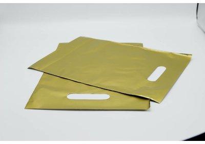 Plastic draagtas goud SALE