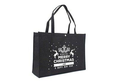 Vilt Kerst draagtas best wishes zwart