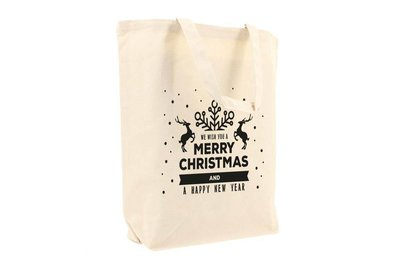 Canvas Kerst Eco draagtas best wishes