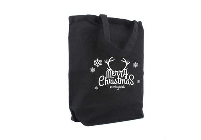 Canvas Kerst Eco draagtas merry christmas zwart