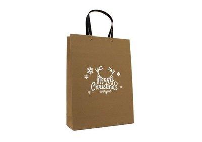 Papieren Kerst Eco draagtas merry christmas bruin