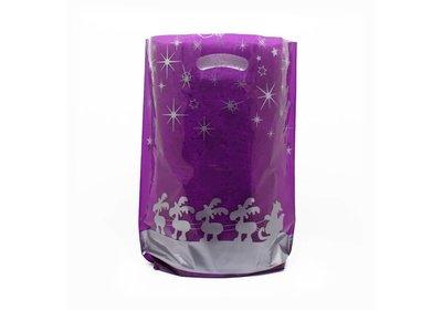 Plastic kerst draagtassen rendieren paars