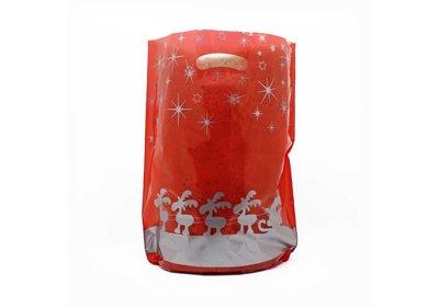 Plastic kerst draagtassen rendieren rood