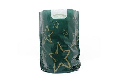 Plastic kerst draagtassen sterrenhemel groen