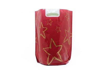 Plastic kerst draagtassen sterrenhemel rood