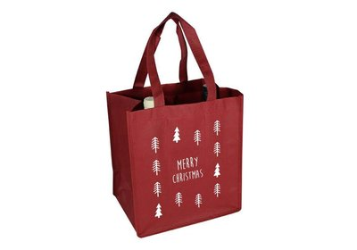 Non Woven Kerst wijnfles draagtas christmas tree bord.rood