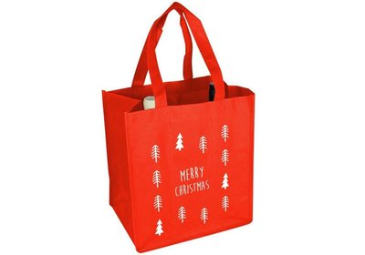 Non Woven Kerst wijnfles draagtas christmas tree rood