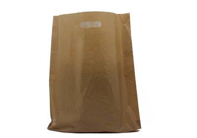 Plastic draagtas met gestanste handgreep bruin